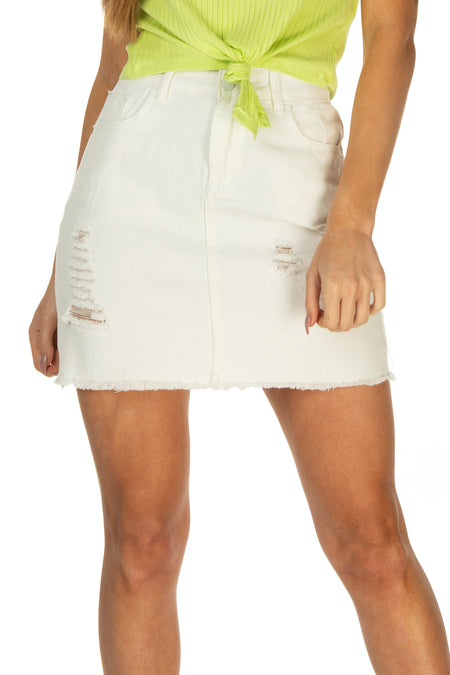 Piper Frayed Hem Distressed Skirt - White