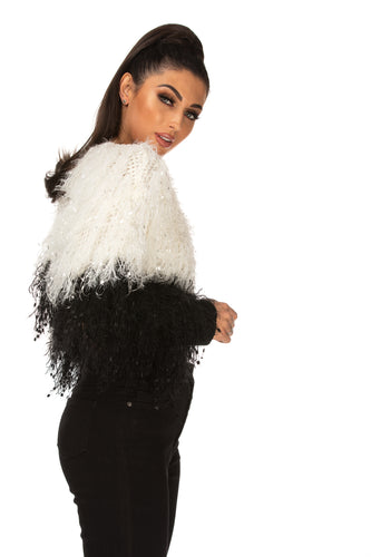Tamara Fringe Detail Cropped Two Tone Mock Neck Jumper