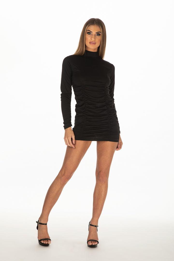 Long Sleeve Polo Neck Mini Dress