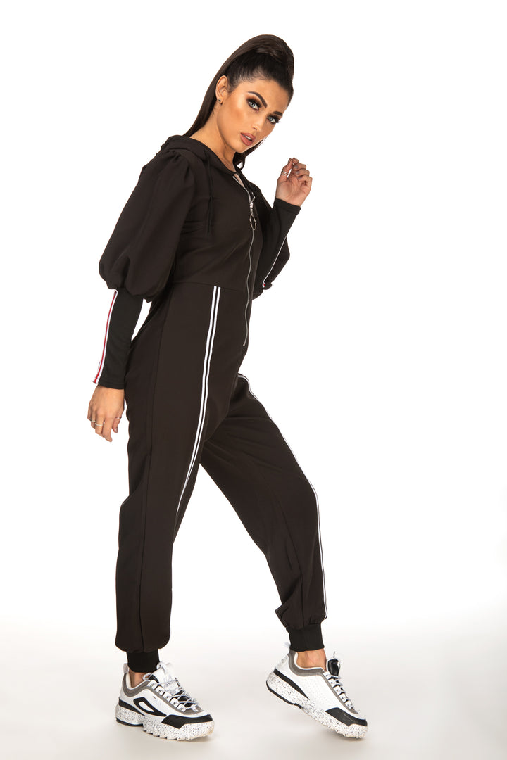 Taylor Contrast Striped Zipper Hooded Jumpsuit