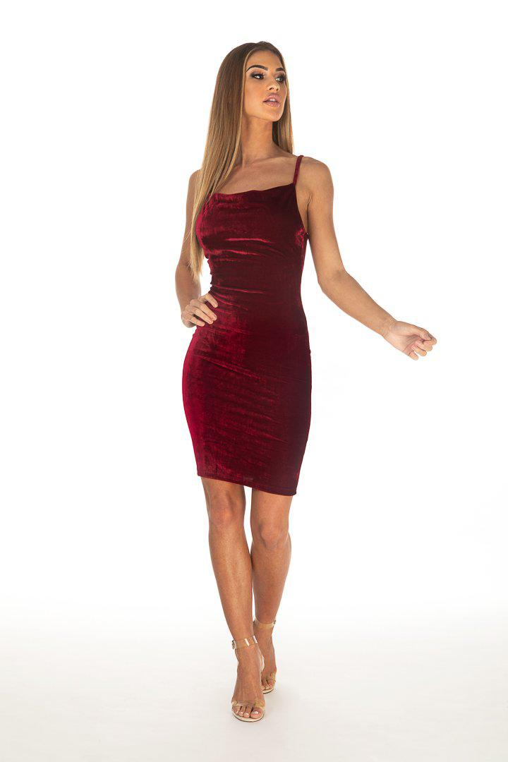 Burgundy Velvet Strappy Midi Dress