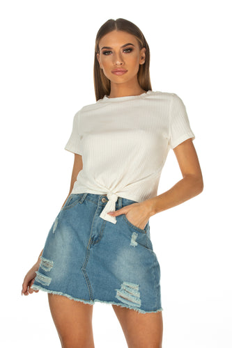 Alaina Tie Front Ribbed Tee - White