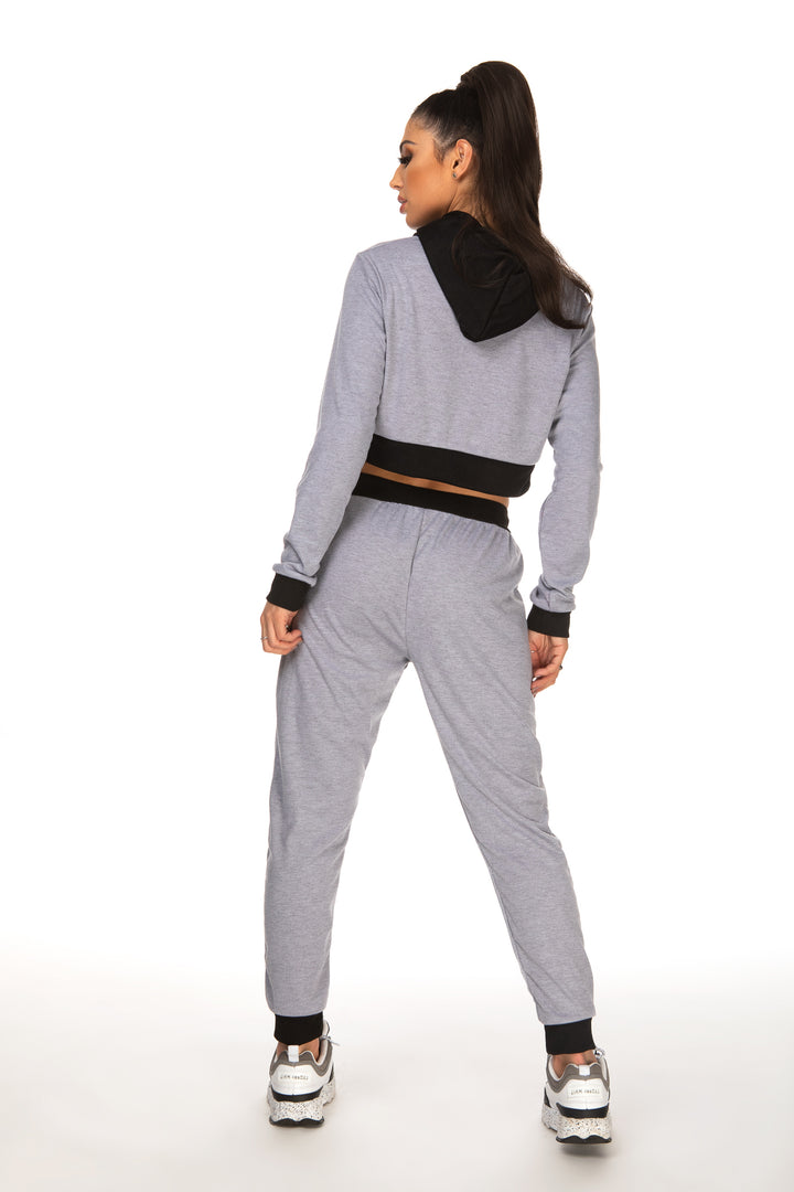 Leona Grey Drawstring Hooded Top With Pants