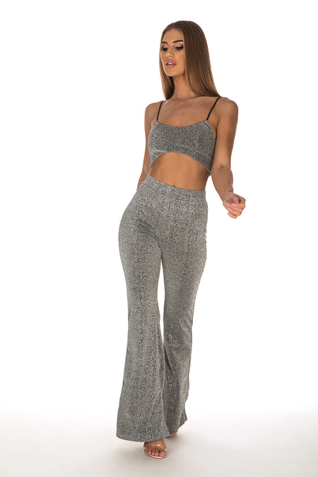 Faith Glitter Flared Pants & Bralette - Silver