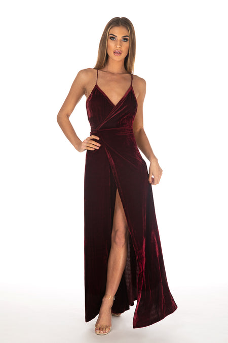 Burgundy Velvet Strappy Maxi Dress