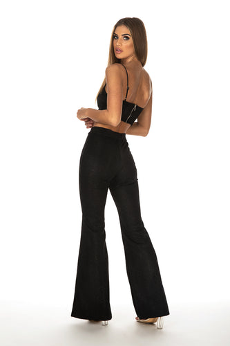 Faith Glitter Flared Pants & Bralette - Black