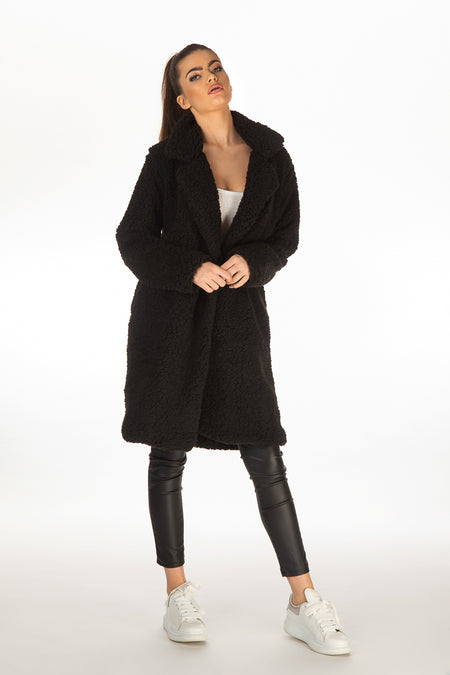 Tia Long Line Teddy Coat - Black