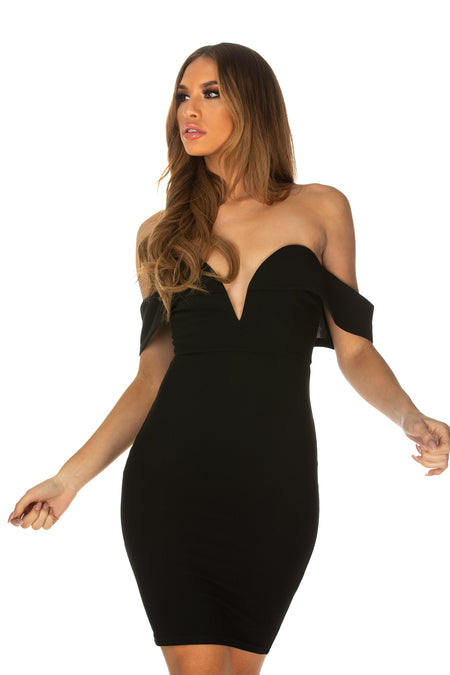 Phoebe Low-Cut Neckline Bardot Dress