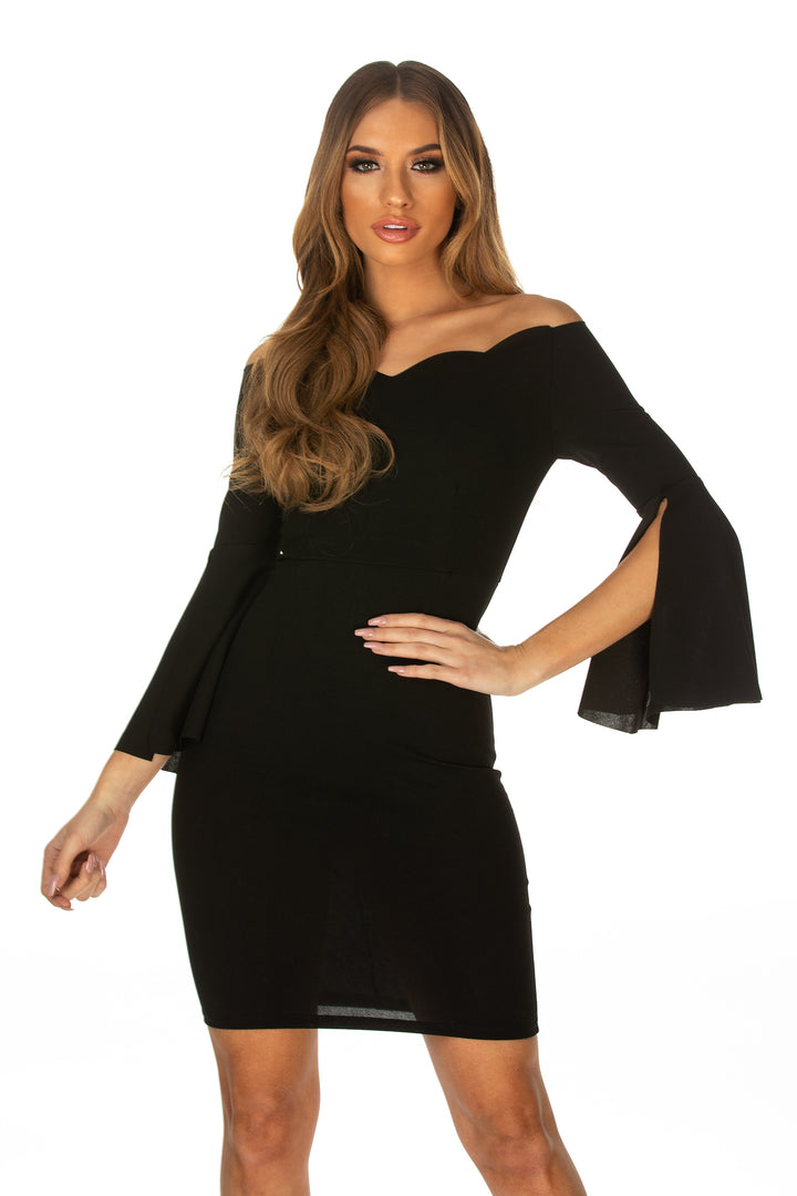 Eve Long Trumpet Sleeve Scallop Neckline Dress