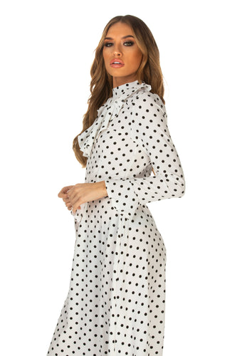 Kaylah Polka Dot Ruffle Trim Belted Dress