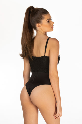 Black Satin Bodysuit With Lace Detail