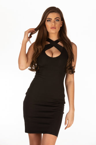 Crisscross Front Body Con Dress
