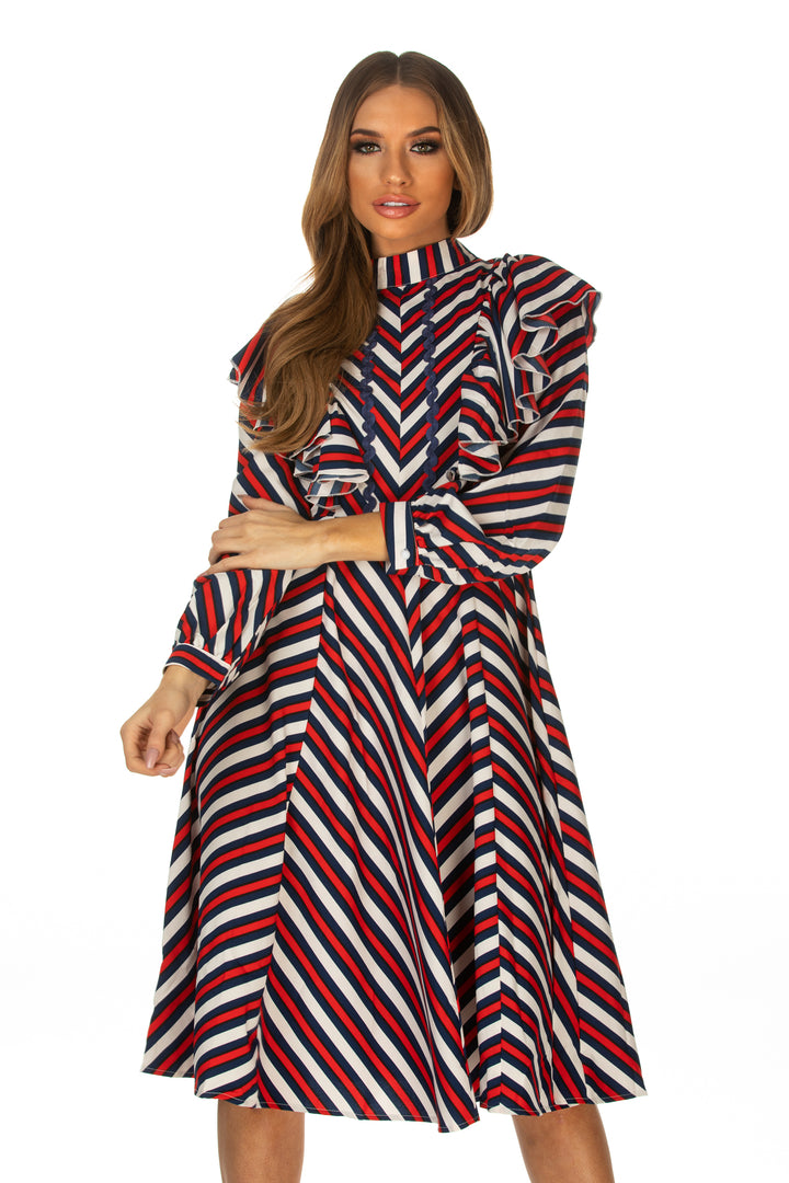 Jordin Frill Detail Striped Print Dress