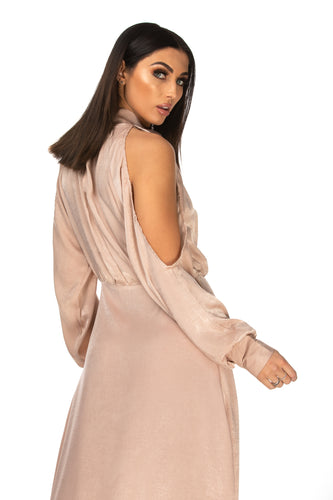 Amie High Neck Cut Out Sleeve Satin Maxi Dress