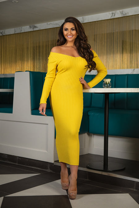 Paige Off Shoulder Long Sleeve Ribbed Midi Dress - Yellow