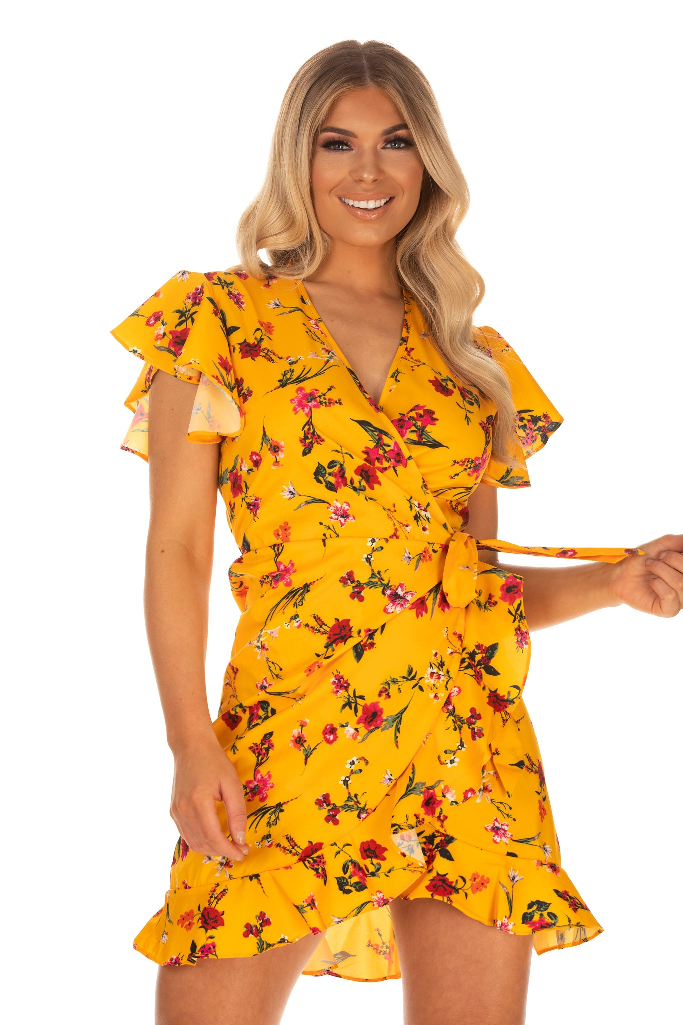 f544ae515a32 Skylar Floral Print Belted Dress - Yellow