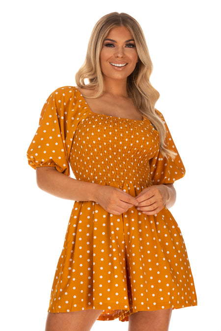 Callie Puff Sleeve Polka Dot Playsuit - Mustard