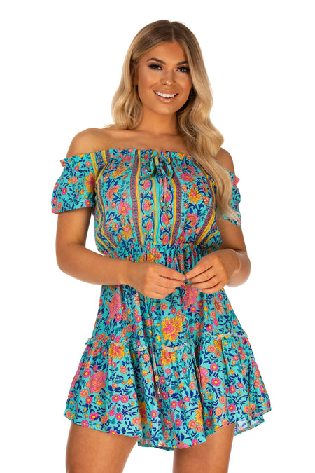 Monica Floral Print Drawstring Waist Dress