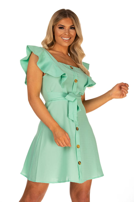 Mariah Button Front Belted Dress