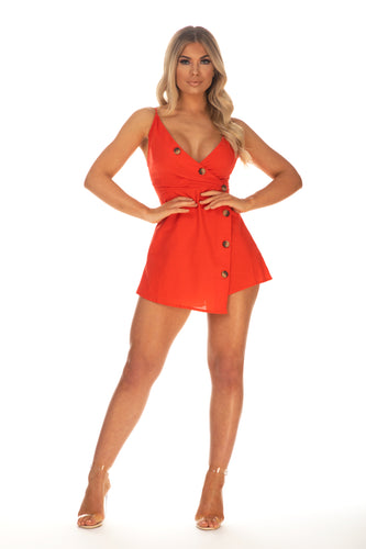 Dani Button Detailed Romper With Tie Back- Red