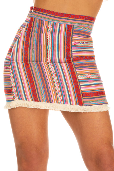 Tessa Stripe Detail Skirt - Multicoloured