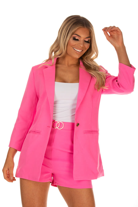 Belle Belted Shorts With Blazer - Pink