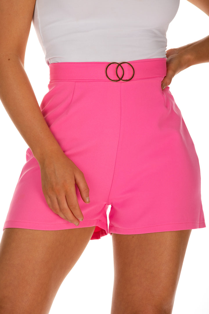 Clover O-Ring Detail Shorts - Pink