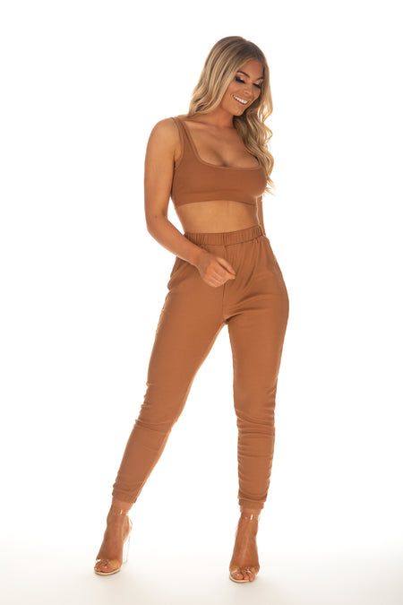 Carrie Ribbed Crop Vest & Pants Co-Ord - Brown