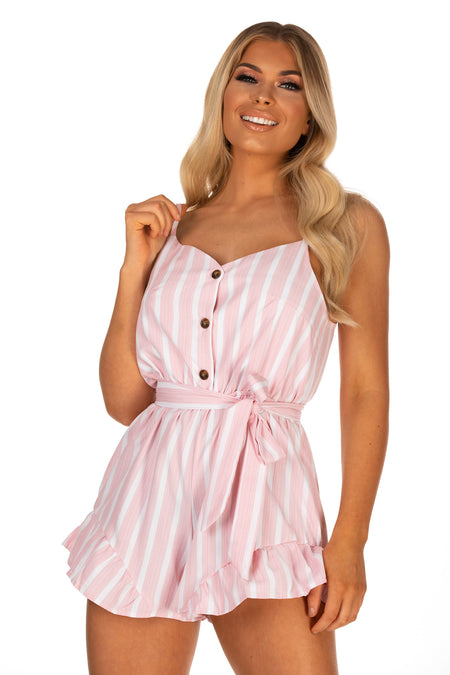 Zoey Striped Playsuit With Belt - Pink
