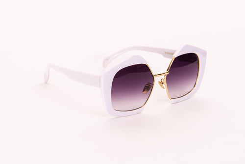 Pentagonal Lens With White Outer Rim Sunglasses