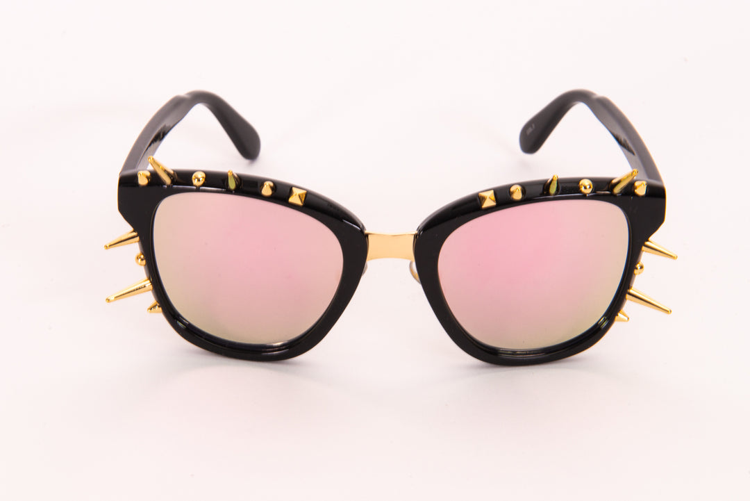 Tinted Iridescent Lens With Spike Detail Sunglasses