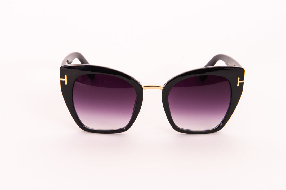 Oversized Cat Eye Sunglasses With Gold Side Detail