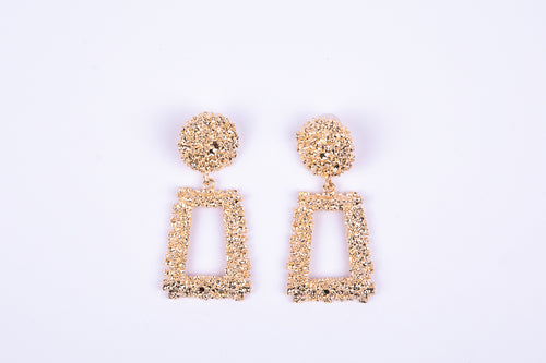Chunky Square Textured Earrings - Gold