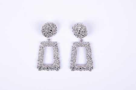 Chunky Square Textured Earrings - Silver