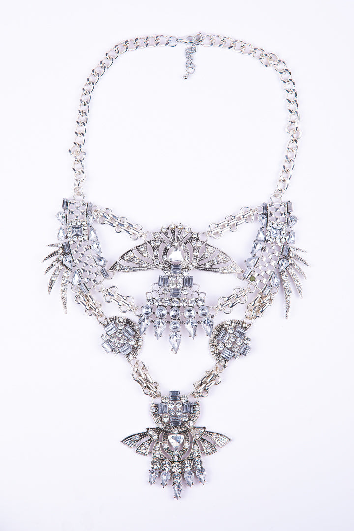 Silver Layering Necklace With Diamante