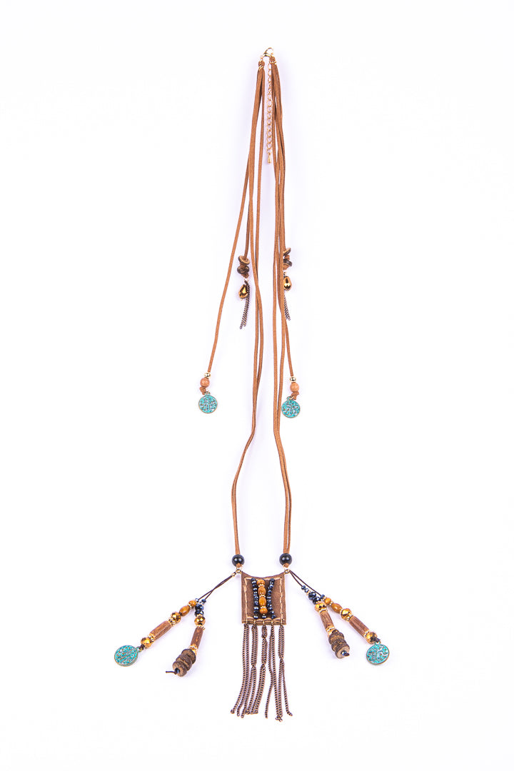 Faux Leather Necklace With Bead Detailing