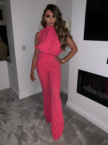 Aurora High Neck Tie Waist Neon Jumpsuit - Pink