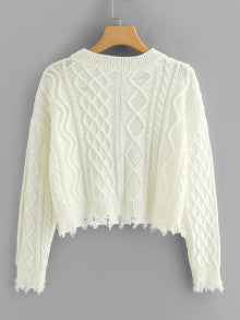 Natalie Raw Hem Geo Pattern Crop Sweater