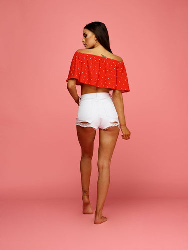 Penelope Frill Crop Top - Red