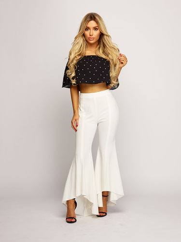 Penelope Frill Crop Top - Black
