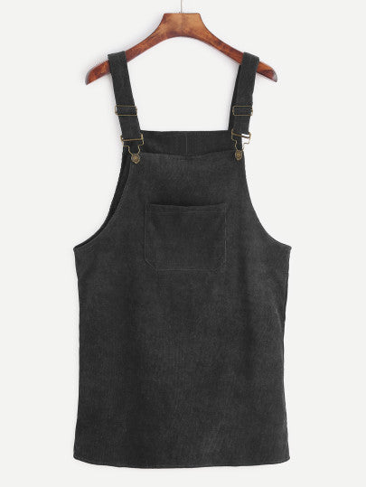 Zahra Black Corduroy Overall Dress