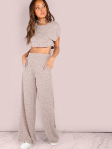 Lucy Blush Crop Top With Wide Leg Pants
