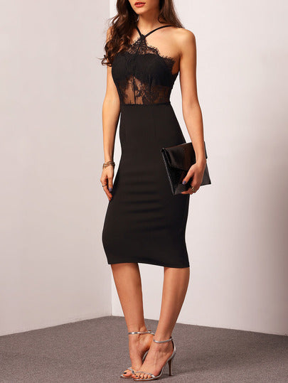 Halterneck Dress With Lace Detail