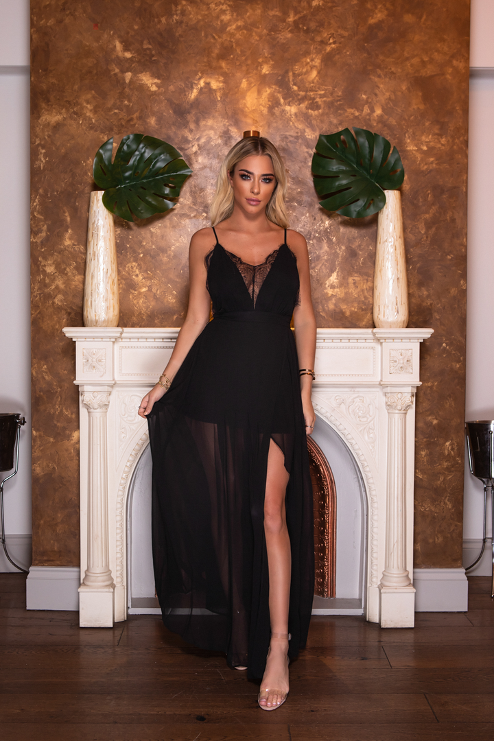 Lace Plunge Neck High Slit Cami Dress