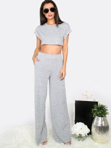 Lucy Grey Crop Top With Wide Leg Pants