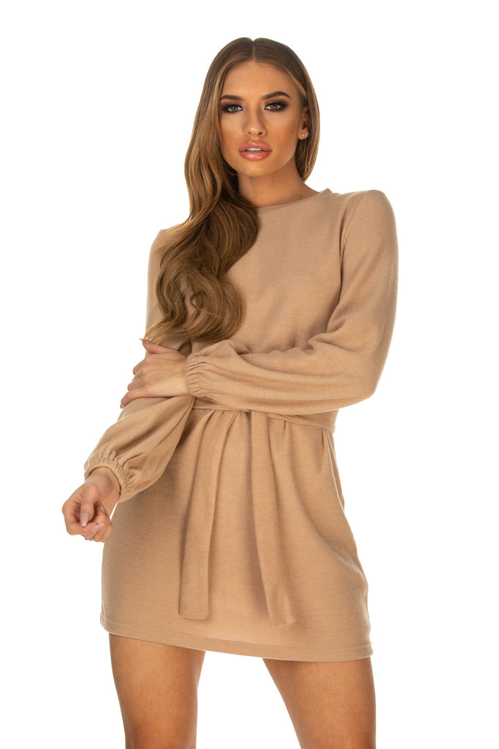Madelyn Belted Lantern Sleeve Jumper Dress