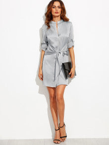 Roll Up Sleeve Dress With Waist Tie