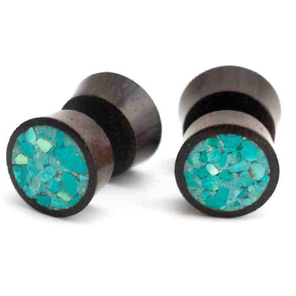 Areng Wood Fake Plugs Gauges With Crushed Turquoise Stone Inlay
