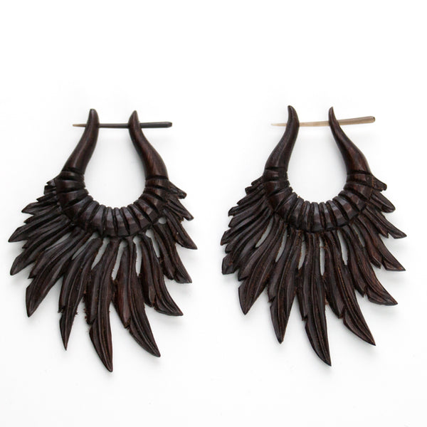 Alula Feather Wooden Post Earrings