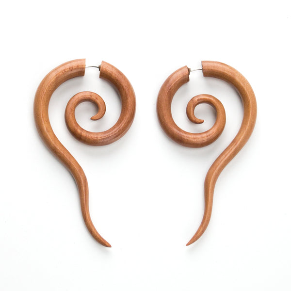 Twirly Spiral Fake Gauges Wood Earrings